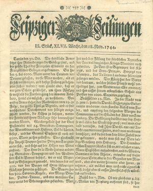 Leipziger Zeitungen vom 18.11.1744