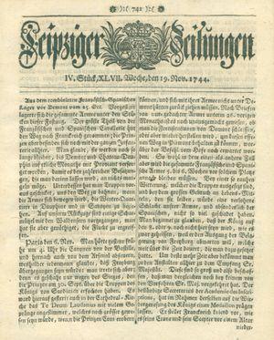 Leipziger Zeitungen vom 19.11.1744