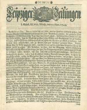 Leipziger Zeitungen vom 23.11.1744
