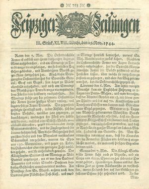 Leipziger Zeitungen vom 25.11.1744