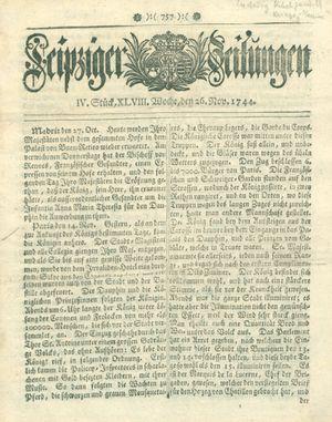 Leipziger Zeitungen vom 26.11.1744