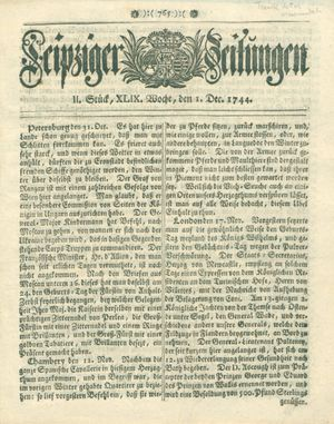 Leipziger Zeitungen vom 01.12.1744