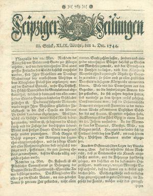 Leipziger Zeitungen vom 02.12.1744