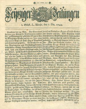 Leipziger Zeitungen vom 07.12.1744
