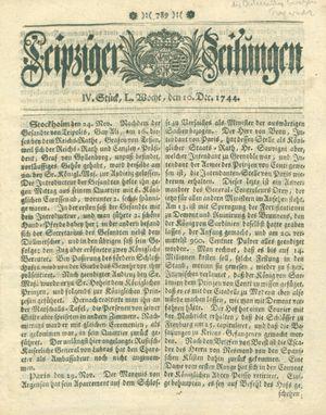 Leipziger Zeitungen vom 10.12.1744