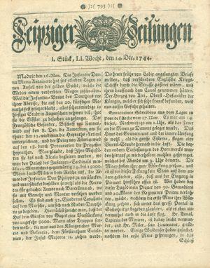 Leipziger Zeitungen vom 14.12.1744