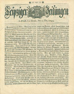 Leipziger Zeitungen vom 15.12.1744