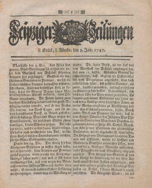 Leipziger Zeitungen vom 03.01.1747