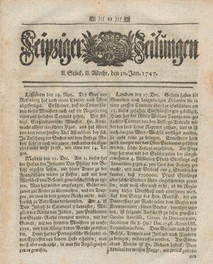 Leipziger Zeitungen vom 10.01.1747