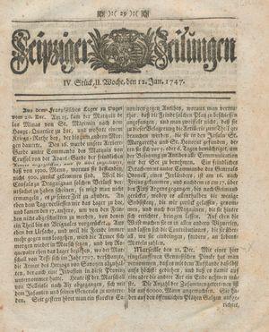 Leipziger Zeitungen vom 12.01.1747