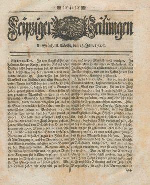 Leipziger Zeitungen vom 18.01.1747