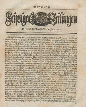 Leipziger Zeitungen vom 19.01.1747