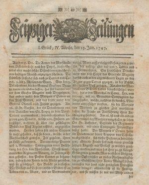 Leipziger Zeitungen vom 23.01.1747