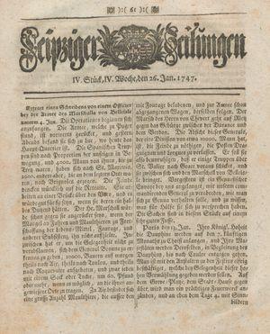 Leipziger Zeitungen vom 26.01.1747