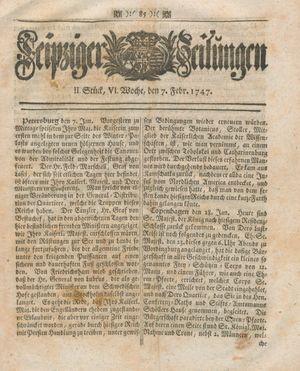 Leipziger Zeitungen vom 07.02.1747