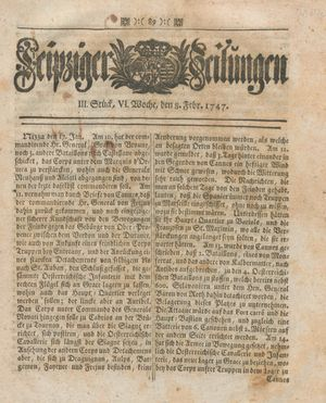 Leipziger Zeitungen vom 08.02.1747