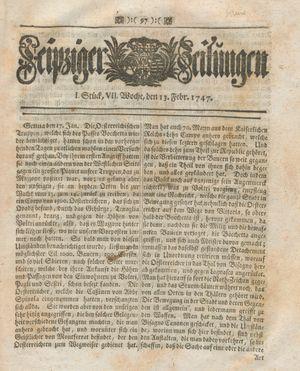Leipziger Zeitungen vom 13.02.1747