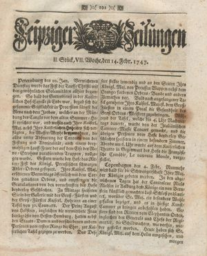 Leipziger Zeitungen vom 14.02.1747
