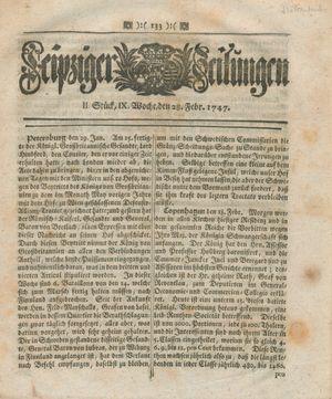 Leipziger Zeitungen vom 28.02.1747