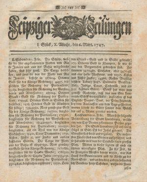 Leipziger Zeitungen vom 06.03.1747