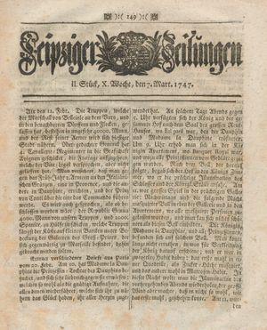 Leipziger Zeitungen vom 07.03.1747