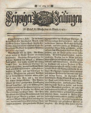 Leipziger Zeitungen vom 16.03.1747