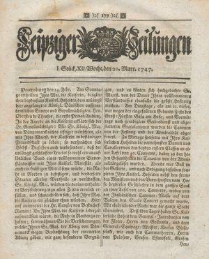 Leipziger Zeitungen vom 20.03.1747