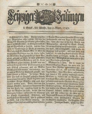Leipziger Zeitungen vom 21.03.1747