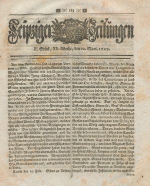 Leipziger Zeitungen vom 22.03.1747