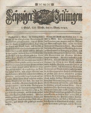 Leipziger Zeitungen vom 27.03.1747