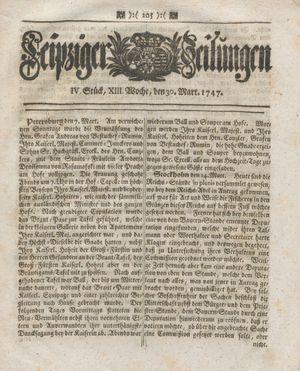 Leipziger Zeitungen vom 30.03.1747