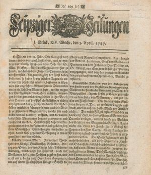 Leipziger Zeitungen vom 03.04.1747