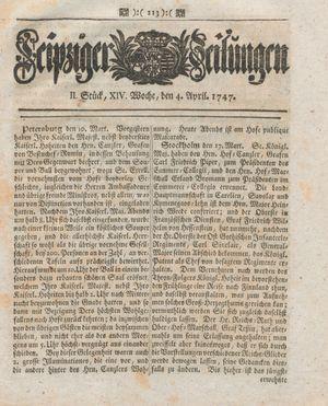 Leipziger Zeitungen vom 04.04.1747