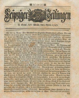 Leipziger Zeitungen vom 05.04.1747