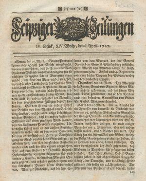 Leipziger Zeitungen vom 06.04.1747