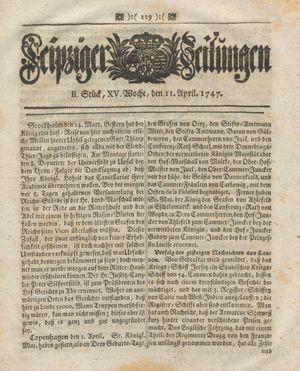 Leipziger Zeitungen vom 11.04.1747