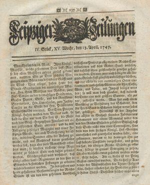 Leipziger Zeitungen vom 13.04.1747