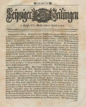 Leipziger Zeitungen vom 17.04.1747