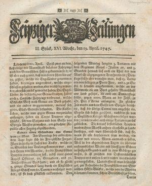 Leipziger Zeitungen vom 19.04.1747
