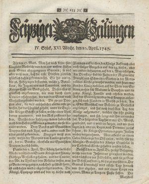 Leipziger Zeitungen vom 20.04.1747