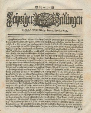Leipziger Zeitungen vom 25.04.1747
