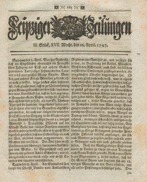 Leipziger Zeitungen vom 26.04.1747