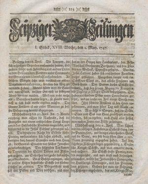 Leipziger Zeitungen vom 01.05.1747