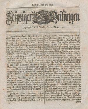 Leipziger Zeitungen vom 02.05.1747