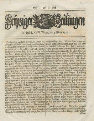 Leipziger Zeitungen vom 04.05.1747