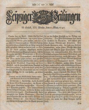Leipziger Zeitungen vom 10.05.1747