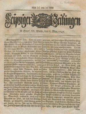 Leipziger Zeitungen vom 16.05.1747
