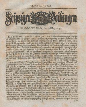 Leipziger Zeitungen vom 17.05.1747