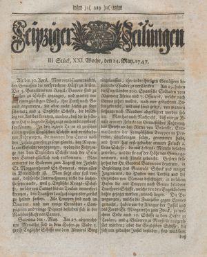 Leipziger Zeitungen vom 24.05.1747