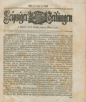 Leipziger Zeitungen on May 29, 1747